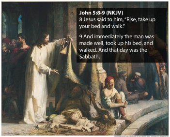 John 5:8-9, Christ heals the man at Bethesda